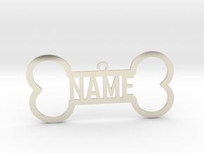 Your Name Bone Pendant in 14k White Gold