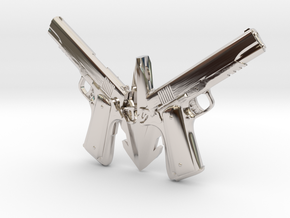 1911 pendant -colt  in Rhodium Plated Brass