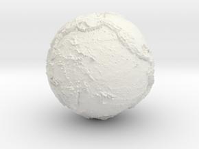 "EARTH - 2"" diameter hollow world globe in White Natural Versatile Plastic"