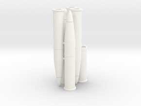 Six 1/16 scale 105mm Howitzer Shells in White Strong & Flexible Polished