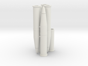 Six 1/16 scale 105mm Howitzer Shells in White Strong & Flexible