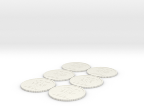 Inq Tokens (1-6) Roman Numerals in White Strong & Flexible