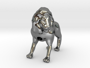 Lion in Fine Detail Polished Silver