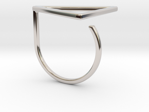 Triangle ring shape. in Rhodium Plated Brass