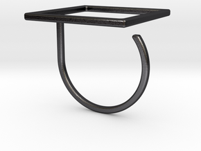 Square ring shape. in Polished and Bronzed Black Steel