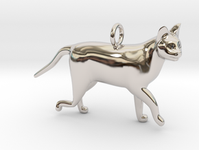 Cat in Rhodium Plated Brass