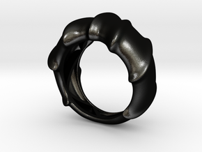 Leatherback Turtle Shell Ring  in Matte Black Steel: 9 / 59