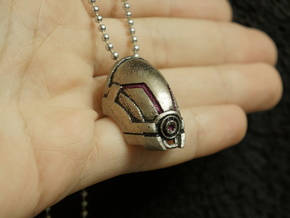 Alternative Tali Mask/Helmet Pendant in Polished Nickel Steel