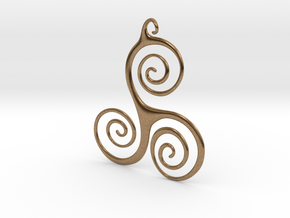 Three Waves Pendant in Natural Brass