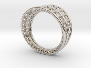Lattice Framework Modern Ring in Rhodium Plated Brass