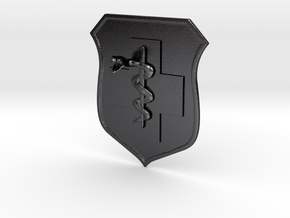 5x5.6 inch MEDIC BADGE in Polished and Bronzed Black Steel