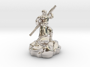 Halfling Ninja With Staff in Rhodium Plated Brass