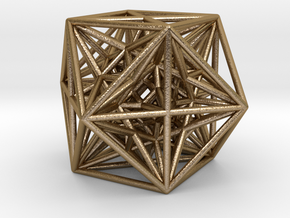 "Inversion of Cuboctahedra-2.8"" in Polished Gold Steel"