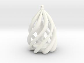 Swirl Ornament in White Processed Versatile Plastic