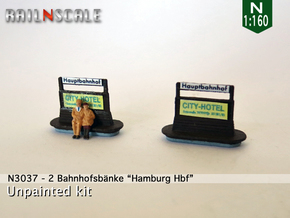 2 Bahnhofsbänke Hamburg Hbf (N 1:160) in Smooth Fine Detail Plastic