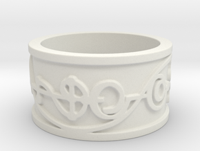 """IDIC"" Vulcan Script Ring - Embossed Style in White Natural Versatile Plastic: 5 / 49"