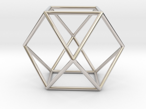Vector Equilibrium - Cuboctahedron 40mm Sacred Geo in Rhodium Plated Brass