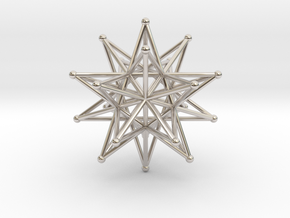Stellated Icosahedron 40mm Sacred Geometry in Rhodium Plated Brass