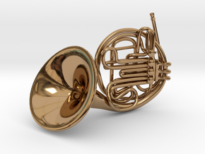 French Horn Pendant in Polished Brass