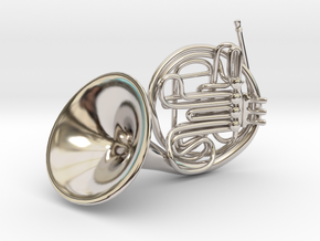 French Horn Pendant in Rhodium Plated Brass