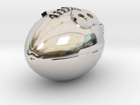 Pendant Football #18  in Rhodium Plated Brass
