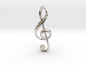 Treble Clef Pendant in Rhodium Plated Brass