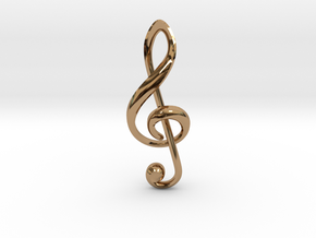 Treble Clef Pendant in Polished Brass