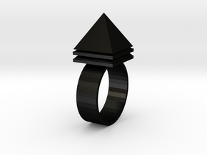 Pyramid Ring in Matte Black Steel