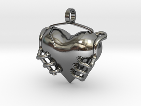 Heart Engine in Polished Silver