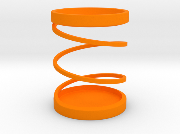 Spiral Pen Stand / Pen Holder in Orange Processed Versatile Plastic