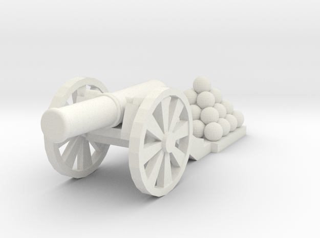 Cannon (Light) - Qty (1) HO 1:87 scale in White Natural Versatile Plastic