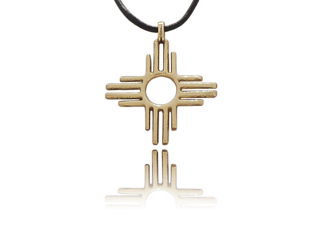 Native American Zia Sun Silver 925 Gold Amulet in Polished Brass