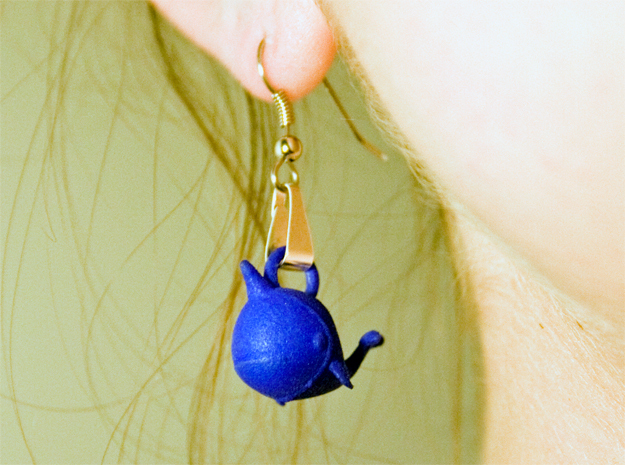 "Whale ""In Disguise"" Earrings in Blue Processed Versatile Plastic"