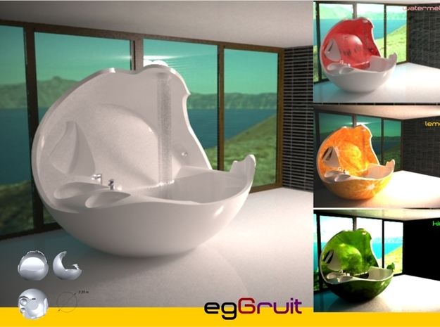 Eggruit 3d printed egGruit is a mixture of egg and fruit. This piece of forniture is a bathtub, shower and sink; you can get the miniEggruit