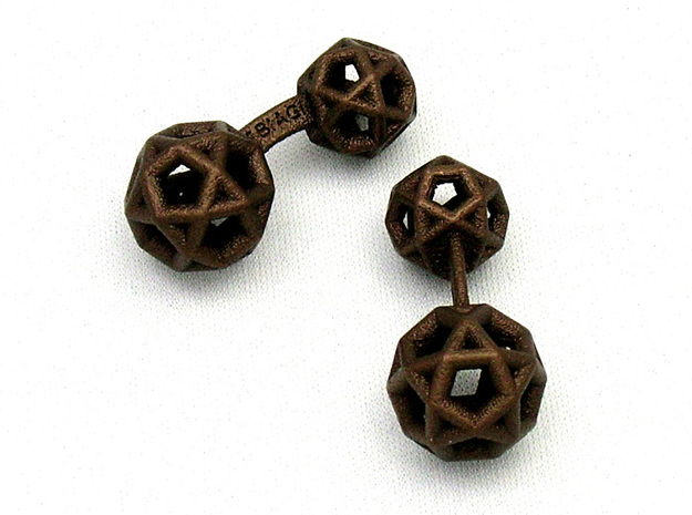 DodecaedroCufflinks in Polished Bronzed Silver Steel