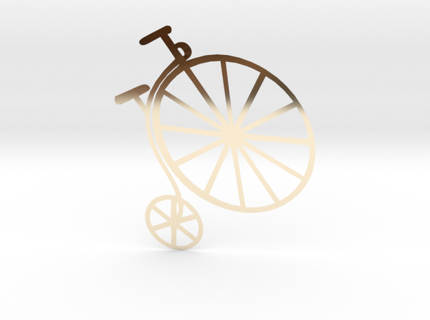 Penny-farthing (High Wheeler) Bicycle in 14k Gold Plated Brass
