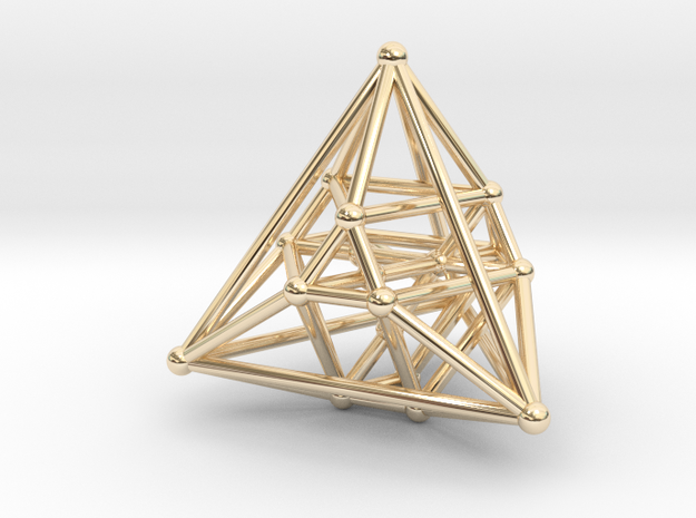Hyper Tetrahedron Vector Net 33mm in 14k Gold Plated Brass