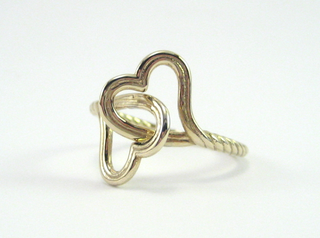 Locked Love Ring in Polished Brass