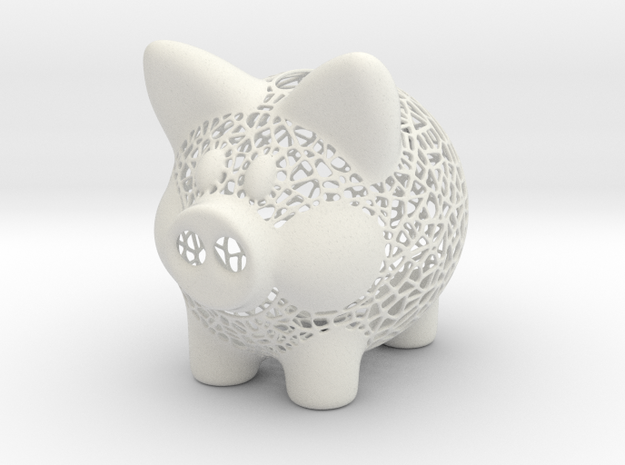 Peek A Boo Piggy Bank 1 in White Strong & Flexible