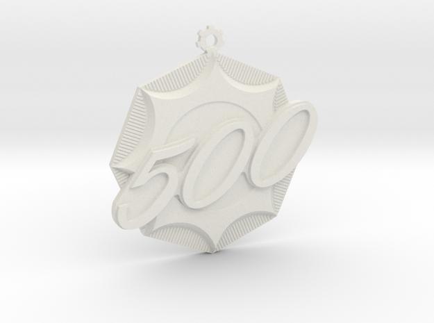 """Immortan Joe """"500"""" Badge / Medal in White Natural Versatile Plastic"""
