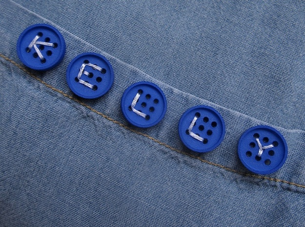 "5/8"" alphabet buttons (dozen) 3d printed printed in blue polished S&F"