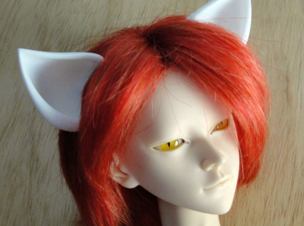 Fox Ears MSD doll size in White Natural Versatile Plastic