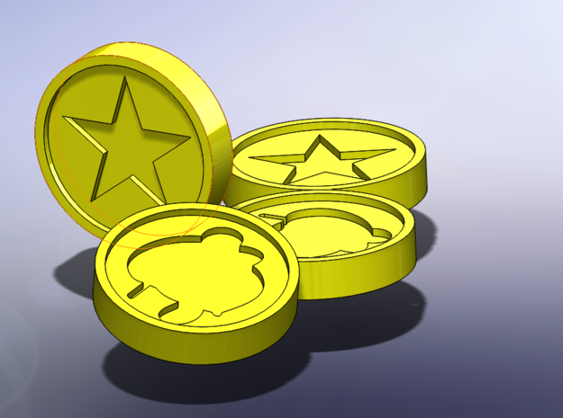Mario 64 Coin in Yellow Strong & Flexible Polished