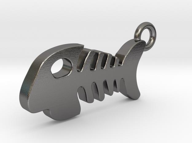 Fish Bone Pendant in Polished Nickel Steel