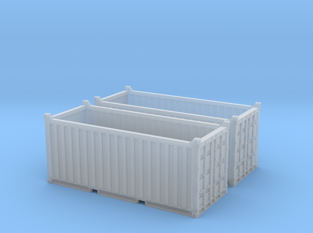 N Scale 20ft Open Top Container (2pc) in Smooth Fine Detail Plastic