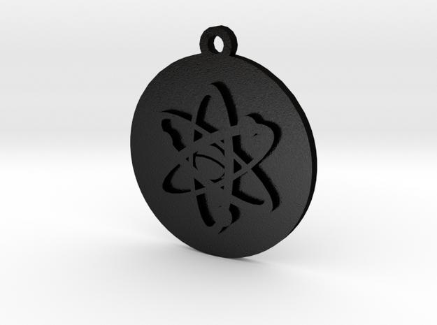 PSA Keychain Atom Icon in Matte Black Steel
