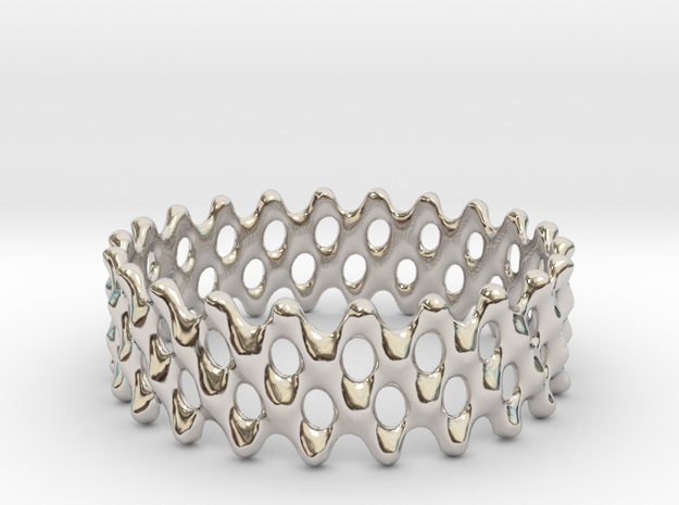 Lattice Ring No.1 in Rhodium Plated Brass