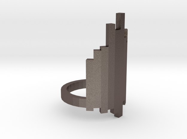 Ring Tower (size 9) in Polished Bronzed Silver Steel