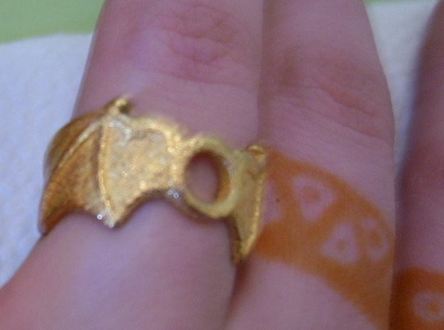 Orb Wings Ring Size 7 in Polished Gold Steel