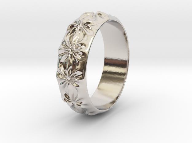 Clementine - Ring - US 9 - 19 mm inside diameter in Rhodium Plated Brass: 9 / 59